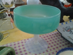 Large round green glass