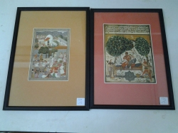 A pair of Indian miniature framed