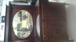 LEBUS WALNUT FINISH RETRO DRESSING TABLE AND MIRROR  3 DRAWERS FURNITURE IMPORTED FROM THE UK