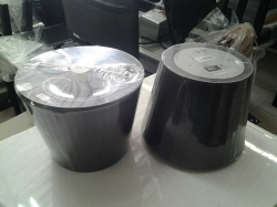 A pair of small black lamps