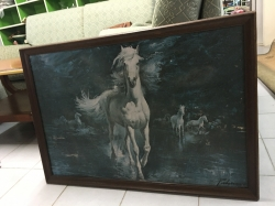 Painting of white horses