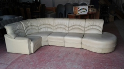 Cream vinyl 3 piece sofa set, some cracks