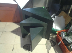 Green triangle wooden table