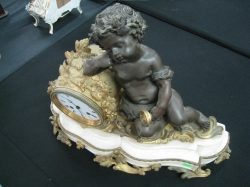 1900 Marble base with ormualu clock and bronze bacus seate ( Approximate 45 cm length )