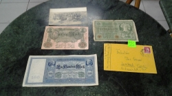 1908-1910 and 1920 German Antique money ,picture of the soldiers and ww2 lfield letter with hitler stamp