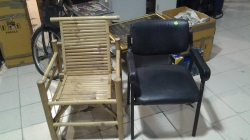 1 wooden chair and 1 steel chair