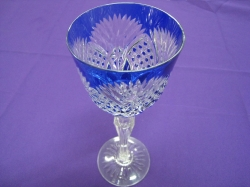 Blue Bohemian glass etched with beautiful stem