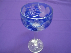 Blue Bohemian glass etched with grapes and leaves
