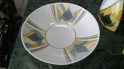 Large Hand painted dish with gold and silver inlay signed by the artist