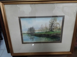 An old water color painting of landscape by Leshil sighned
