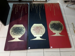 3 pcs . of oil paintings Thai style on canvas ( black and red )