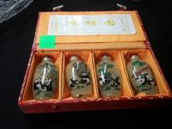 Set of 4 lovely handpainted panda snuff bottles