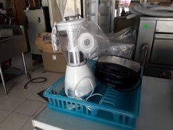 Midea juice with mamaru toasted and blue dish drainer tray