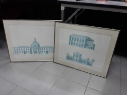 Two frame picture of blue print