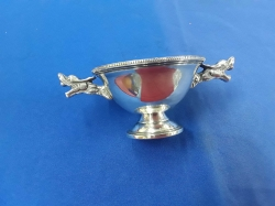 Silver plated cup with dragons handles