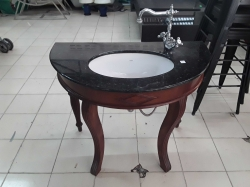 Very nice old antique style bathroom sink and taps on a Rosewood stand
