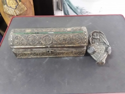 Nice antique handmade wooden box and signed Jesus bronze statue