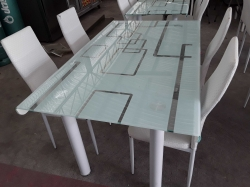 Large Glasses Table With 4 Chairs