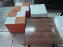 3 stools with japan table