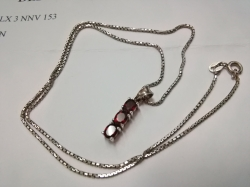 Silver necklace with garnet & Zirconia pendant with certificate