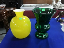 2 very nice green and yellow art glass vases