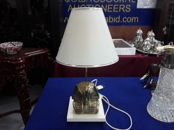 A very nice bronze Pharaoh table lamp on a wood base and new shade