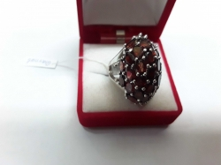 Garnet in silver setting size 6.5