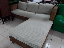 Rattan sofa set with cushions