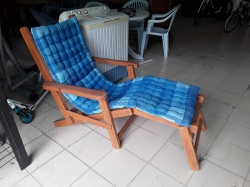 Teak wood reclining chair with cushion