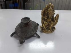 Brass Genesh with turtle