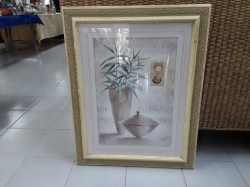 Water colour signed of vase ang flowers and shells