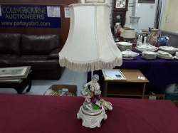 Porcelain man and child lamp with shade
