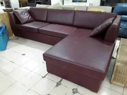 Red L-shape sofa