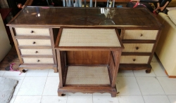 Wooden office desk removal top glass with wooden shelf