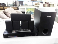 Samsung speakers and DVD player with remote in office