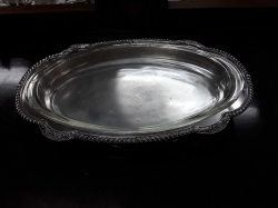 Large silver plated serving dish with pyrex insert