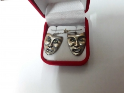 Sterling Silver 925 mask earrings with mother of pearl eyes
