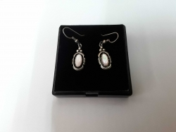 Sterling Silver 925 Oval earrings with pink mother of pearl