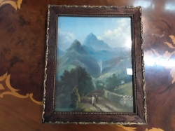 Very old antique painting on wood sign