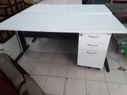 White office desk with small cabinet