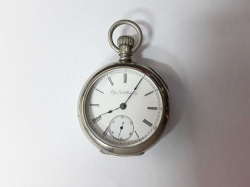 Elgin Silveroid open face pocket watch C.1893 porcelain dial with Roman numerals