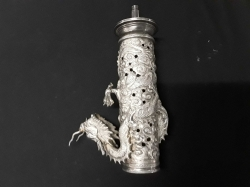 Silver plated Chinese dragon vase