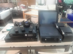 Cash register with cables, CCTV recorder and Sony DVD player