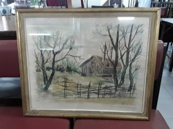 Water color painting in frame