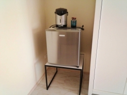 Small refrigerator with table and electric kettle