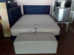Queen size bed with mattress and 1x stool