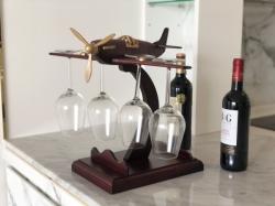 Wooden plane wine glass holder