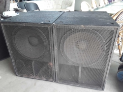 A pair of large speakers
