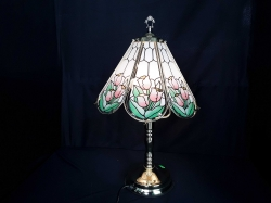 A new beautiful 3 Branch brass standing table lamp with Tiffany style glass and brass shade
