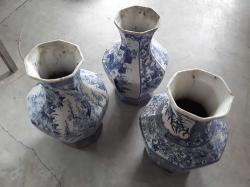 3Pcs Blue and White Ceramic Vases